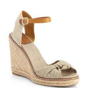 Tory Burch Knotted Bow Wedge Espadrille